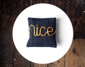 Nice word pillow little yellow embroidered denim cushion ribbon lettering typography memake handmade home decor