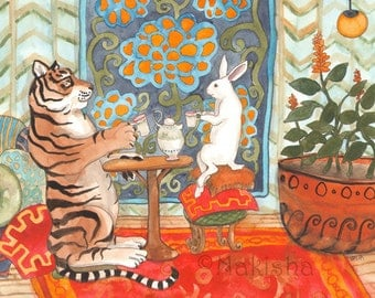 Tea with Tiger - Fine Art Rabbit Print
