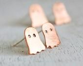 Ghost earrings, Halloween earrings, costume jewelry orange copper sterling silver posts, minimalist