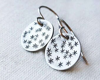 silver star earrings, sterling silver earrings, cosmic constellation jewelry, gift for teens