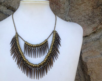 Spiked Necklace in Bronze - Spike Bib Necklace on Bronze Rolo Chain - Bohemian Gypsy Jewelry - Layering Necklace