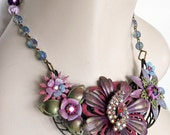Vintage Enamel Flower -  Lilac, Lavender, Blue, Sage Green Statement Necklace - OOAK - JaelDesigns
