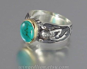 Guardian Angels silver 14K ring with Turquoise (sizes 5 to 8.5)