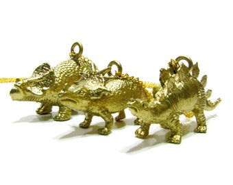 Gold Herbivore Dinosaur Necklace - Choose Your Dino! Triceratops, Stegosaurus, Brachiosaurus & More - Paleontologist Chic