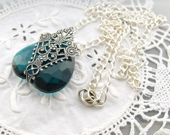 Zircon Filigree Antique Silver Necklace -  Art Nouveau Filigree Pendant - Vintage Teal Blue Glass Stone - Heart Jewel Necklace