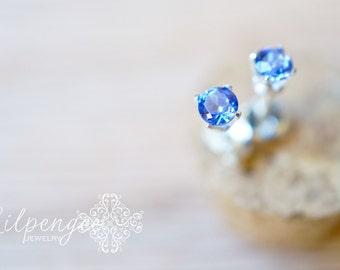nova - 3mm tanzanite earrings. gemstone studs. tiny gem stud. gold or silver
