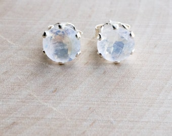 6mm rainbow moonstone studs. june birthstone. white gemstone studs. gold or silver studs.