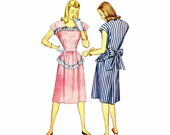 1940s Womens Dress Simplicity 1912 Vintage Sewing Pattern  Ruffles Bows Gathered Skirt Dress Misses Size 14 Bust 32