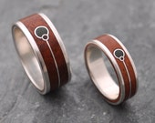 Union Verde Wood Ring - Wood Wedding Band with Union Symbol and Green Stone Ring, wood wedding ring set