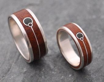 Union Verde Wood Ring - Wood Wedding Band with Union Symbol and Green Stone Ring, wood wedding ring set