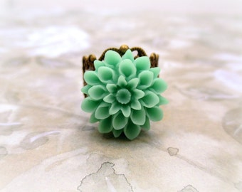 Green Ring, Resin Ring, Resin Jewelry, Adjustable Ring, Turquoise Ring, Resin Flower, Statement Ring, Cabochon Ring, Gift For Her,  SEASIDE