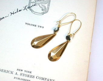 Minimalist Deco Gold Drop Faceted Earrings Pyrite Beads