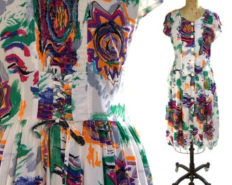 1980s Corset Sundress / Novelty Abstract Printed Cotton Dress with Cap Sleeves & Lacing up the Back