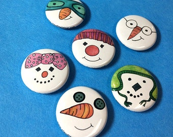 Snowman Magnets or Pins Set - Snowmen Pinback Button Or Fridge Magnets, Christmas, Cute, Snow, Winter, holiday gift, stocking stuffer