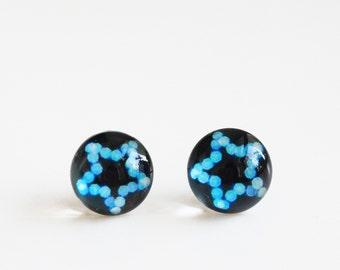 12mm Blue Star Stud Earrings. Surgical Steel Earrings Post. Christmas Night, Christmas Light, Starry Post Earrings, Medium Size
