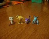4 Vintage Rare USA Hasbro Mystery Pokemon Pack Figures (soft rubber minis)