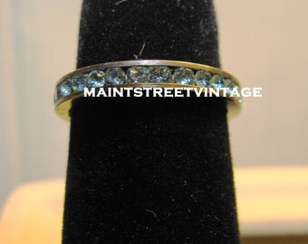 Vintage Art Deco Sterling Silver Blue Rhinestone Channel Set Ring Size 6.5