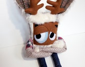 Hand Sewn Plush Jackalope Monster, Cute Furry Grumpy Doll, Great Gift, Rabbit Monster by Cutesy but not Cutesy