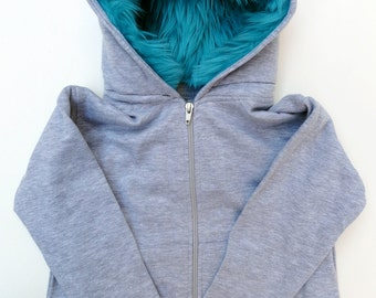 Toddler Monster Hoodie - Size 4T - Gray with aqua - horned sweatshirt, custom jacket, great gift for kids