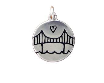Sterling Silver Golden Gate Bridge Necklace - San Francisco Pendant - Bay Area Medallion