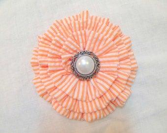 Orange Seersucker Flower Hair clip.Brooch.Pin.Stripes.headpiece.bridesmaid.summer.wedding.hair accessory.fascinator.fabric flower.classic