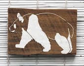 Panda Bear Wall Hanging on Reclaimed Barn Wood
