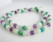 Multi Gemstone Necklace, Amazonite, Amethyst, Citrine, Semiprecious Stone Jewelry
