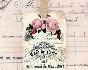 French Country Style Gift Tags , Vintage Shabby , Rustic French , Tags with Roses , Paris Flea Market Style , Vintage Style French Tags