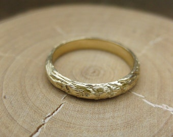 Twig branch wood gold woodgrain ring Thinnest PLYWOOD 3mm 14kt yellow sz 5.5
