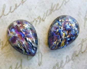 Vintage cabochons (4) glass pear amethyst purple opal harlequin Czech gold foil inclusions 15 x 11mm (4)