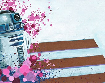 Digital Print 8 1/4 x17 made from of Original Artwork Acrylic Painting of R2D2 with Pink Bubbles