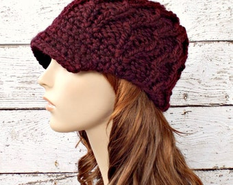 Burgundy Red Newsboy Hat Knit Hat Womens Hat - Amsterdam Cable Beanie Oxblood Wine Red Hat Knit Hat Womens Accessories