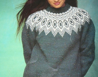 Sweater Knitting Pattern Nordic Canadiana English French Beehive Patons 1093 Women Worsted Weight Yarn Vintage Paper Original NOT a pdf.