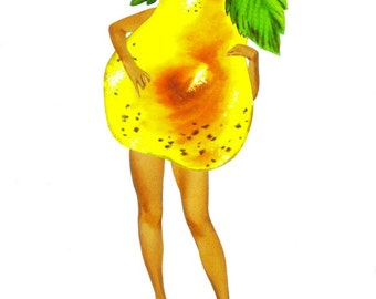 Original Collage Yellow Pear Artwork on Paper Fun Wall Art for Kitchen Colorful Anthropomorphic Fruit Artwork