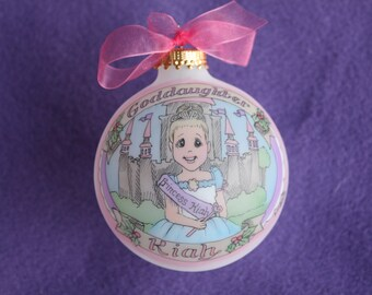 MY LITTLE PRINCESS,  Personalized Ornament, Hand Painted and Original