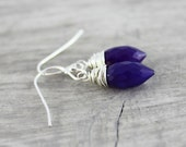 Dark Purple Earrings, Sterling Silver Earrings, Chalcedony Gemstone Earrings, Wire Wrap Earrings, Amethyst Earrings, Dangle Drop Earrings