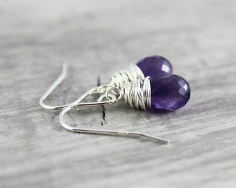 Purple Amethyst Earrings, Sterling Silver Earrings, Violet Gemstone Earrings, Wire Wrap Earrings, Dangle Earrings, February Birthstone