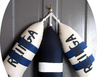 Maine Lobster Buoy Pillow.gifts under 45.life preserver pillow.nautical pillow.life jacket.buoy pillow.buoy. navy blue nautical pillow.