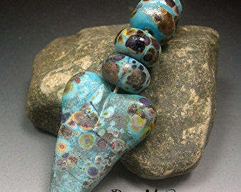 HANDMADE LAMPWORK GLASS Bead Focal Donna Millard rustic relic assemblage heart primitive love primitive