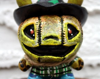 Jack O' Lantern custom scarecrow Dunny character figurine Green by Bryan Collins