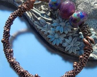Rustic Organic Copper Purple Lampwork Beaded Bracelet Handmade Boho Gypsy Hippie SRA Artisan jewelry
