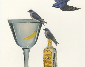 Purple martins wet their whistles on a dry martini. Limited edition print by Vivienne Strauss.