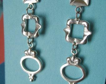 Triple Frame Dangle Earrings Post Earrings Sterling Silver