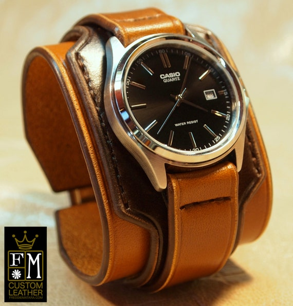 Leather cuff watch Vintage 2 tone Brown Mens or Unisex Layered Refined quality Wristwatch Handmade for YOU in NYC by Freddie Matara!
