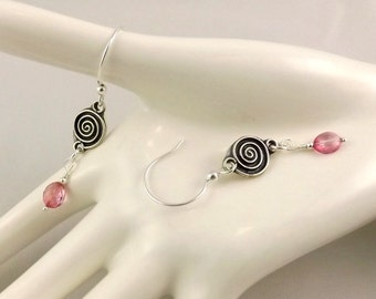 Mystic Pink Quartz Oval Luxury Line gemstone and sterling silver earrings