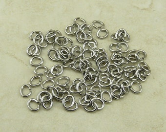 100 TierraCast 3mm 20g Oval Jumprings Jump Rings > Tiny Small Little - Silver Color Rhodium Plated Brass - 0016