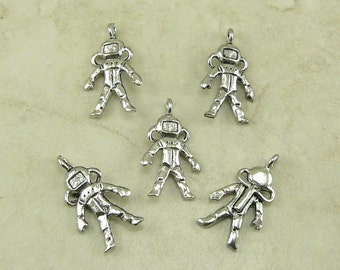5 Space Man Astronaut Charms > NASA Spaceman Dr Who River Song - Raw Unfinished American made,  Lead-Free Pewter - I ship internationally