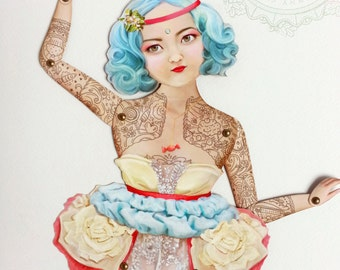 "Tattoo Lady Paper Puppet Doll - Miss Yumi, Blue Hair Art Doll. Candy Confectionery Princess. More Info? Scroll & Read ""Item Details"""