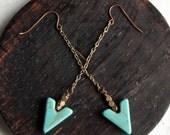 Avenge Triangle Arrow Earrings / Howlite Arrow Earrings / Turquoise Arrow Earrings / Tribal Modern Drop Earrings / Geometric Earrings