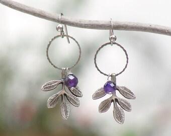 Woodland Amethyst Earrings Silver Branch Amethyst Stone